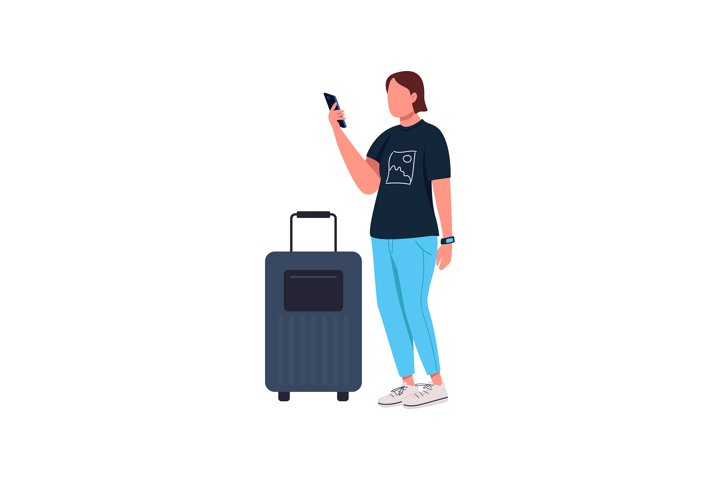 Covid traveler flat color vector faceless character