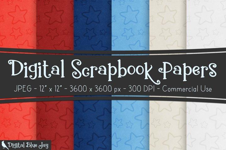 Digital Scrapbook Paper Backgrounds - Patriotic Stars