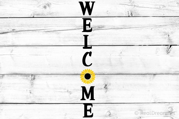 Welcome Porch Sign with Sunflower SVG, DXF, PNG, EPS
