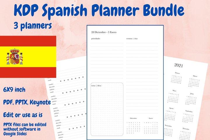 KDP Spanish Planner Bundle, 3 planners in PDF, PPTX, Keynote
