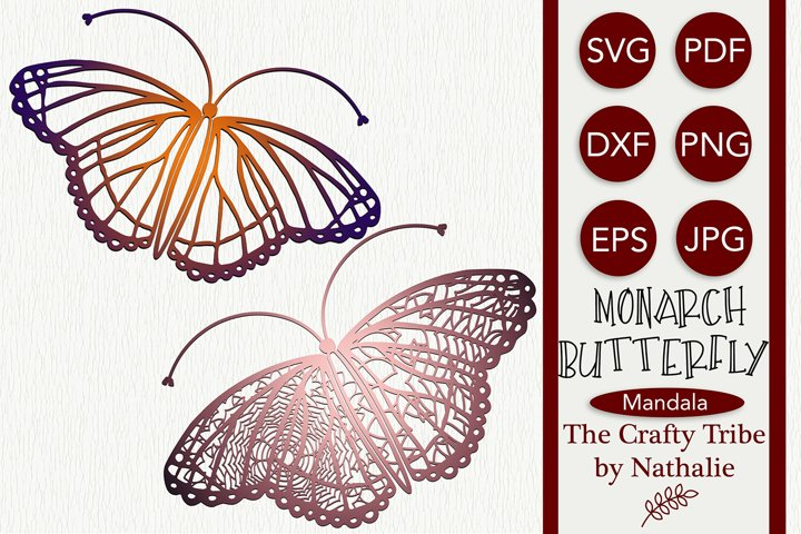 Monarch Butterfly SVG Mandala Designs Cut File For Weeding