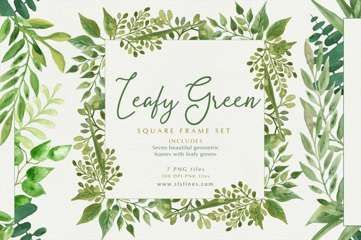 Pretty Green Foliage Square Watercolor Frames