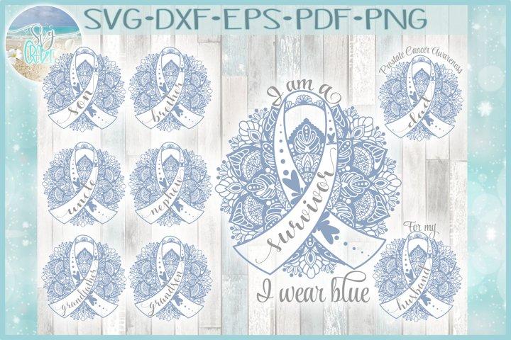 Prostate Cancer Awareness Mandala Bundle I Wear Blue SVG