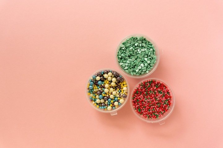 Various multicolored sweet sprinkles for decoration