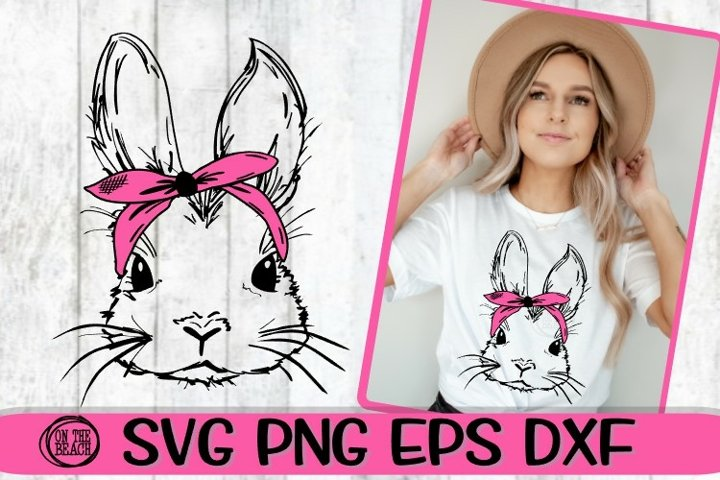 Bunny With Bandana - Easter Bunny - SVG PNG EPS DXF