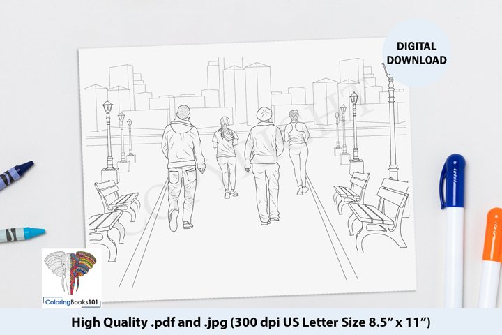 Persons Doing the Morning Walk Intricate Coloring Page