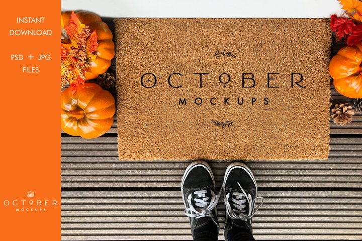 Doormat mockup Fall | Personalized doormat mockup JPG and PS