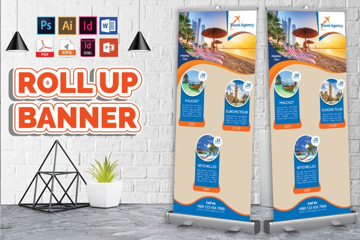 Travel Agency Roll Up Banner Vol-01