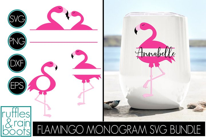 Flamingo SVG - Flamingo Monogram Cut File and Clipart