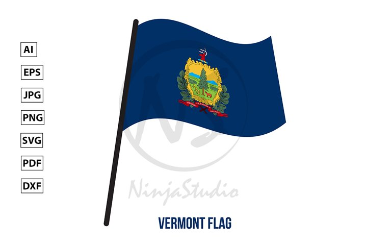 Vermont U.S. State Flag Waving Vector