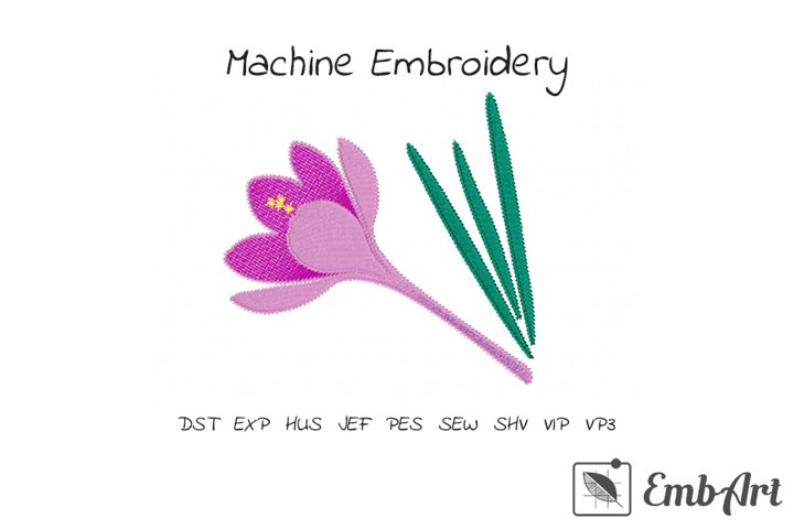 Purple Crocus Flower - Machine Embroidery Design