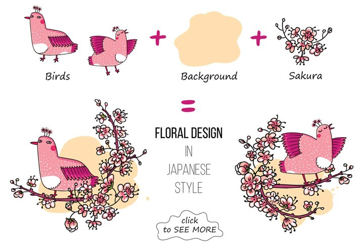 Pink Japanese Bird - Floral set example 2