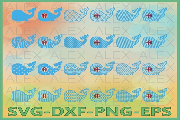 Whale svg, Whale Monogram Frame SVG, Whale SVG Cut Files