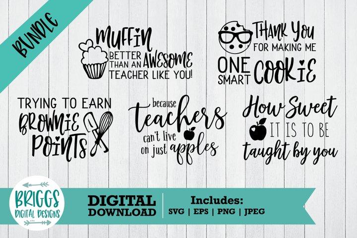 Thank You Teacher SVG Bundle | 5 Pot holder Cut Files