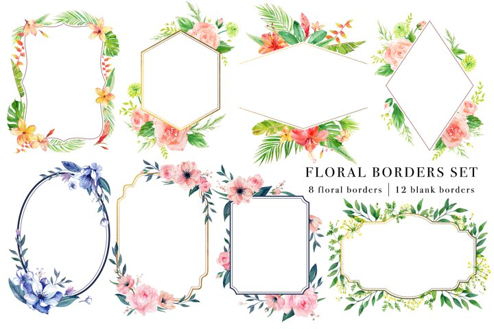 Floral Borders Watercolor Set