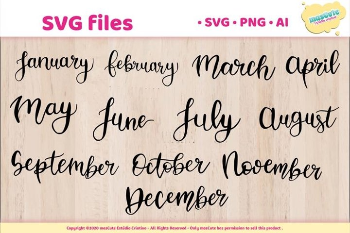 Months of The Year - SVG Hand Lettered Pack