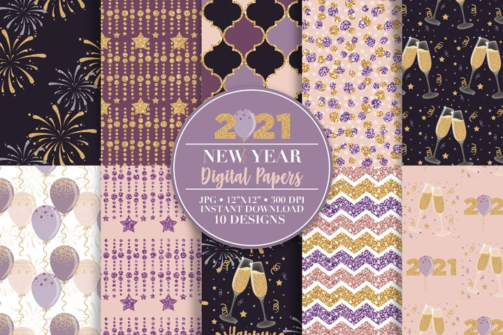 2021 New Year Digital Paper and Clip Art