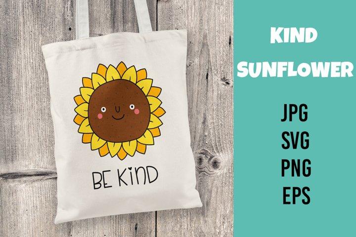 Kind sunflower. Vector flat illustration. SVG/PNG/EPS/JPG