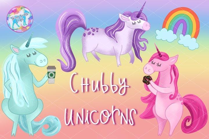 Chubby Unicorn Clipart Bundle
