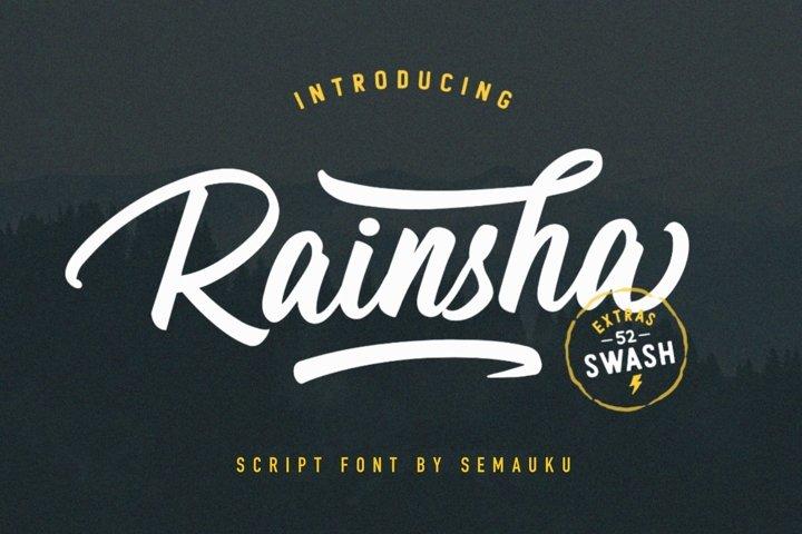 Rainsha Script Font - Extras Swash