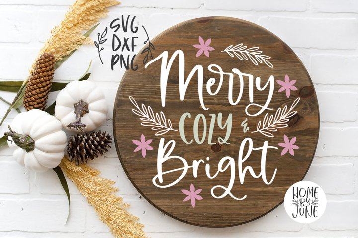 Merry Cozy & Bright Round/Circle Christmas Sign Decor