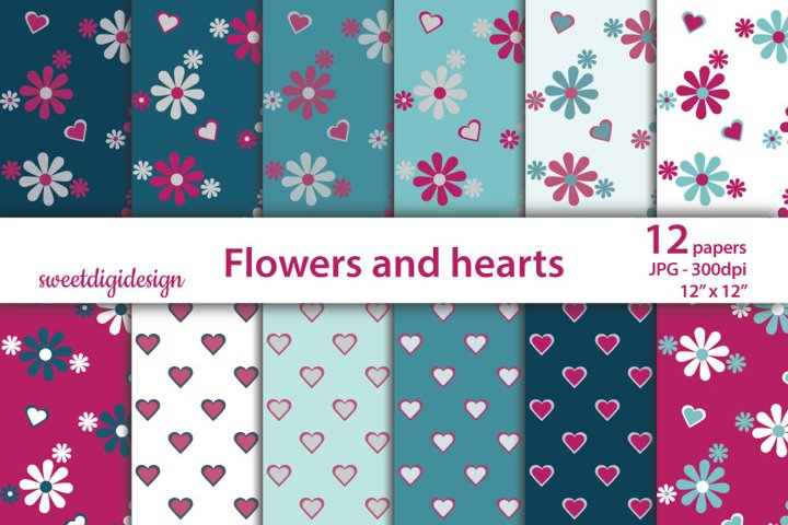 Small hearts and flowers digital paper