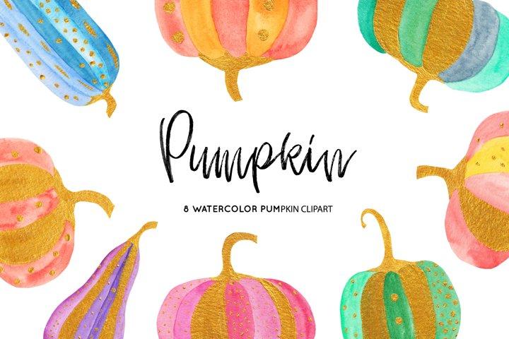 Watercolor Pumpkins Illustrations, Gold Pumpkin illustration