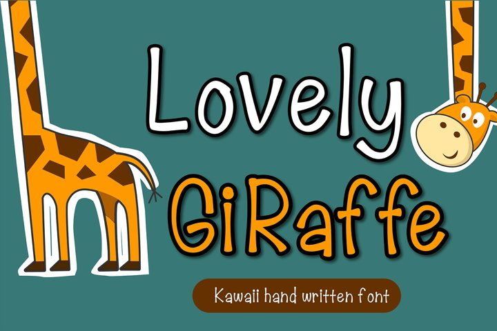Lovely Giraffe Handwritten- cute kid font Kawaii style!