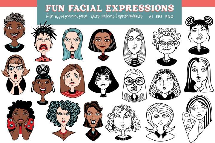 Fun Facial Expressions Vectors and PNG - Feminine Faces
