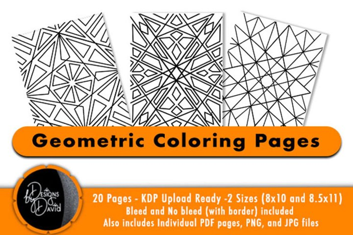 Geometric Coloring Pages - PDF,PNG, JPG files. Printable