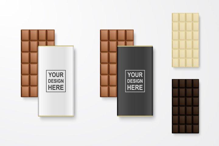 Chocolate bar. Vector set.