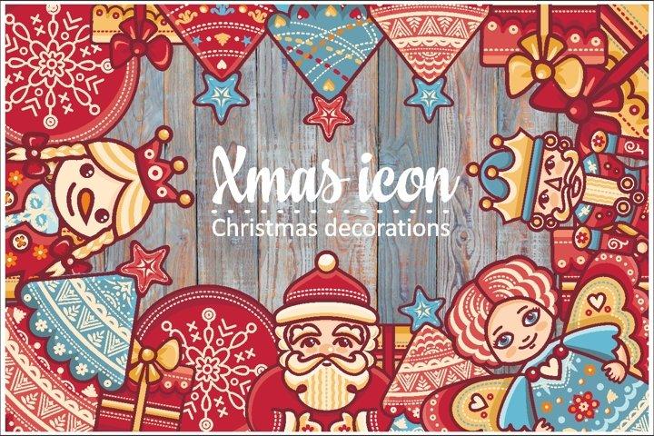 Christmas decorations.Xmas characters & decorative elements.