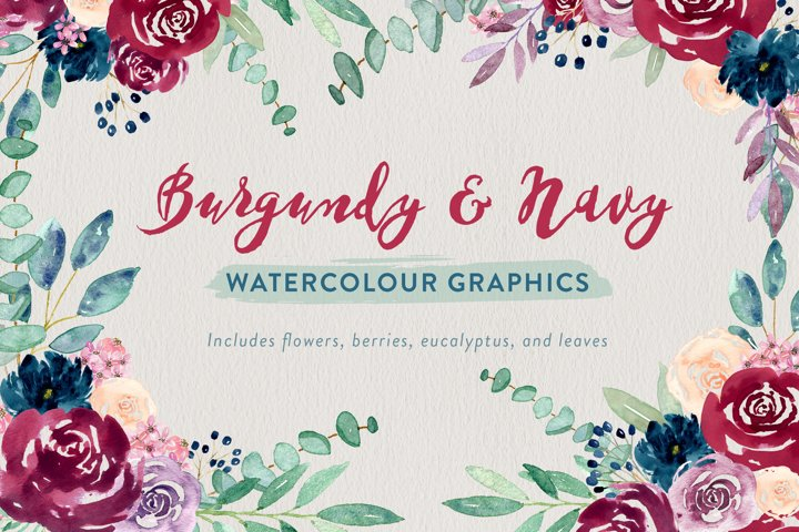 Burgundy and Navy Watercolour Flowers
