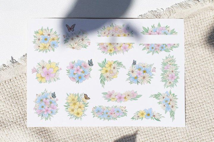 Watercolor flower arrangements, floral bouquets