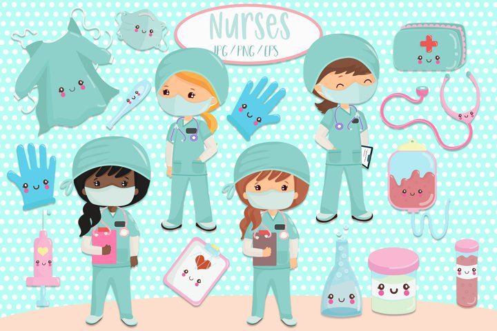 Nurses and medical clipart