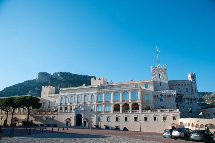 Sand-colored castle in Monaco.