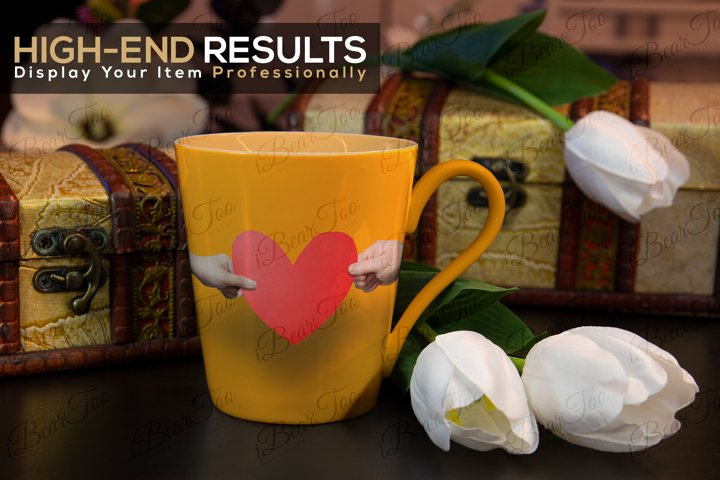 Mug Mockup Template with Smart Objects, Flowers & Chests PSD example 3