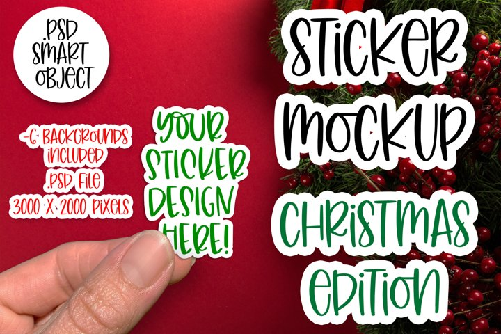 Christmas Sticker Mockup, Smart Object PSD, Vinyl Decal Mock