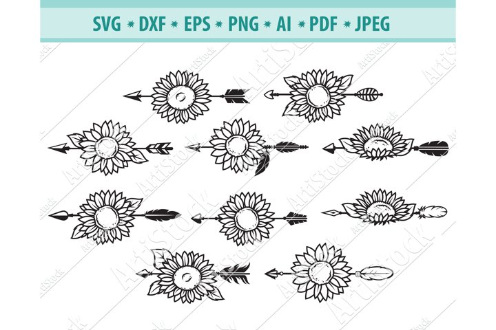 Arrows SVG file, Arrow with sunflowers Svg, Eps, Png, Dxf