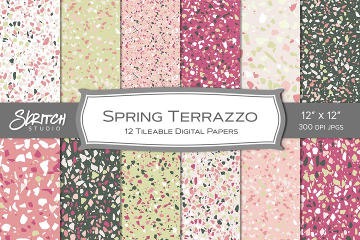 Spring Terrazzo 12 Tileable Digital Patterns, Pink and Green