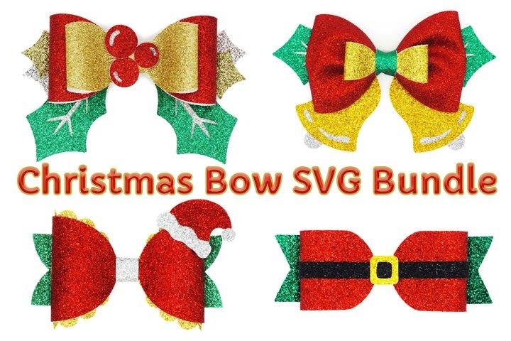Christmas Bow SVG Bundle, Hair Bow Template SVG