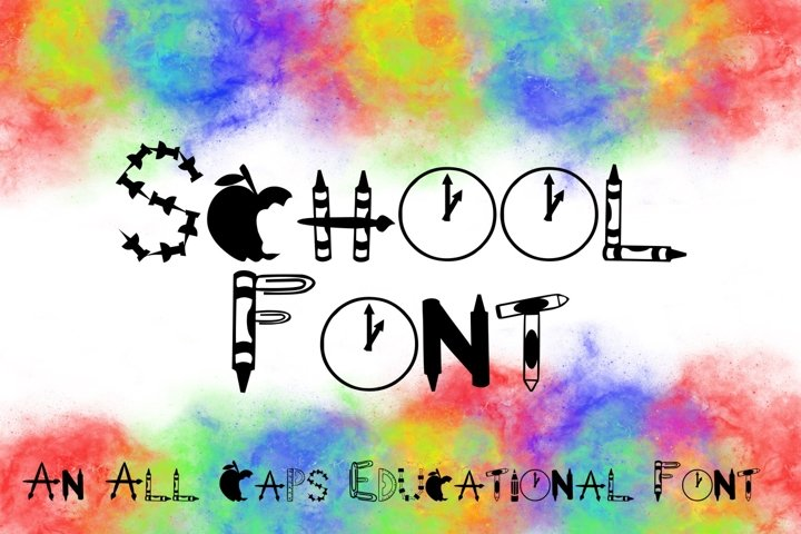 School Font -- Letters Made from School Supplies