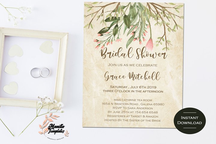 Bridal Shower Invitation, Floral Invite,