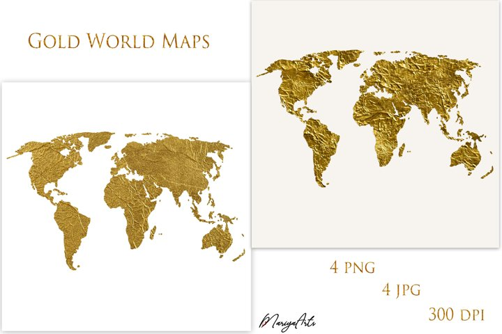 Gold World Map, Silhouette, Transparent Background, PNG