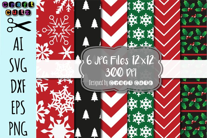 Christmas Digital Paper Set, INSTANT DOWNLOAD, Christmas Backgrounds, Christmas Paper, Christmas Invitations, Holly Snowflake Paper