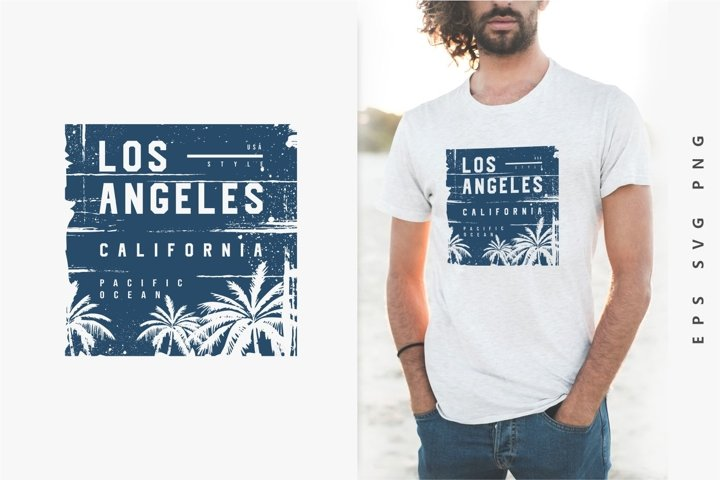 Los Angeles T-shirt Design. California Pacific Ocean