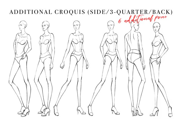 Side/3-Quarter/Back Female Croquis for Fashion Illustration