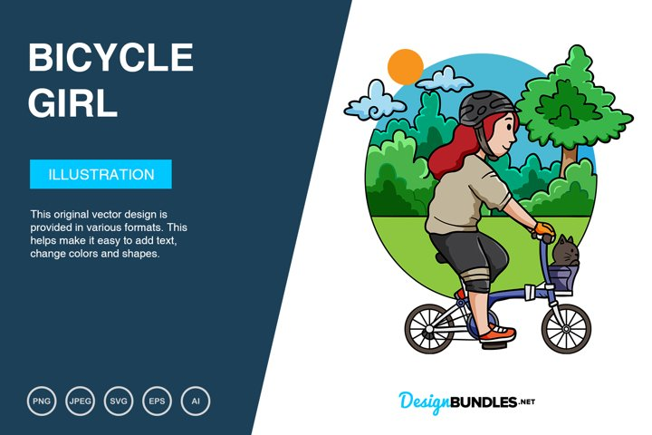 Bicycle girl Adventure Vector Illustration