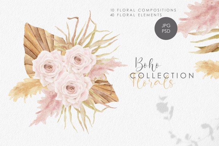 Boho floral clipart, spring flower elements