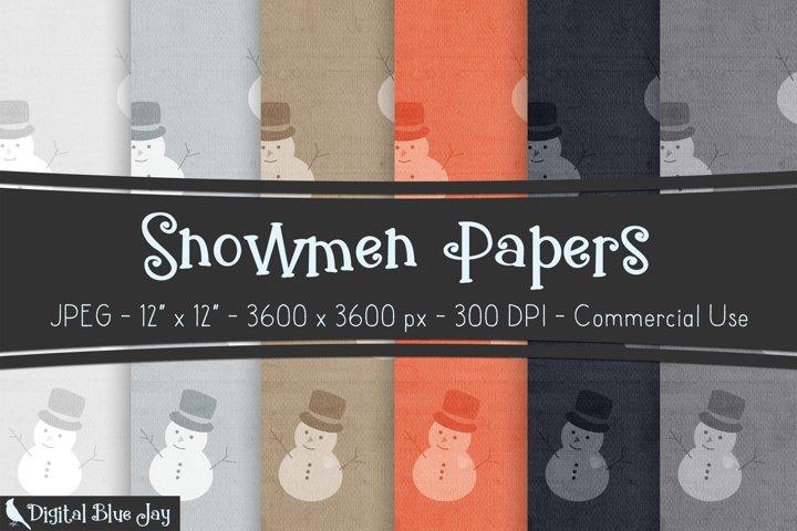 Digital Scrapbook Paper Backgrounds - Snowmen